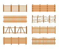 Set Wooden different garden fences. Rural fencing wood boards construction. Set Wooden Fences isolated on white background. Different garden fences vector Royalty Free Stock Photo