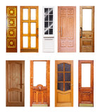 Set of wooden doors. Isolated on white Royalty Free Stock Image