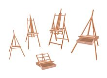 Set of Wooden Easel on White Background Stock Photography