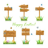 Set of wooden Easter signs in grass Stock Photography