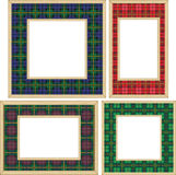 Set of the wooden frames. With tartan patterns Royalty Free Stock Photo