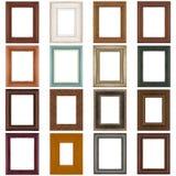 Set of wooden frames stock photos
