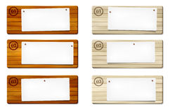 Set of wooden frames with paper board Royalty Free Stock Photos
