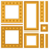 Set of wooden frames and seamless borders. Collection of full wood frames and seamless borders with various mouldings Stock Images