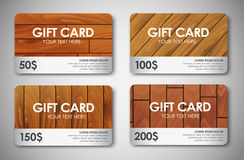 Set of wooden gift cards Stock Photos