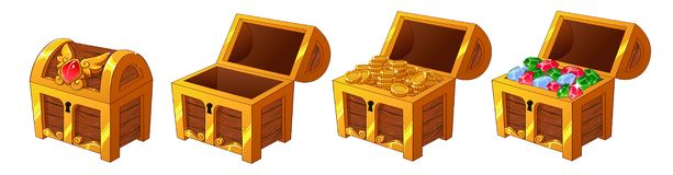 Set of wooden golden chests with coins and diamonds for the game UI. Vector cartoon illustration on white background. Closed, full, empty chest royalty free illustration