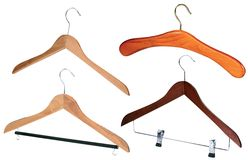 Set of wooden hangers Stock Images