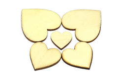 Set of wooden heart shape isolated on white background. Love symbol simple stock photography