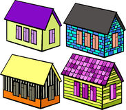 Set of wooden houses and brick cartoon. vector illustration Royalty Free Stock Photos