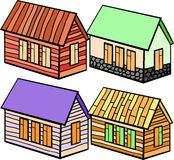 Set of wooden houses and stone cartoon. vector illustration Royalty Free Stock Image