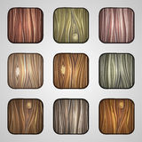 Set of wooden icons. Template Wood Buttons Royalty Free Stock Photography