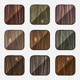 Set of wooden icons. Template Wood Buttons Stock Photos