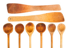 Set of wooden kitchen spoon. Isolated on white background royalty free stock photography