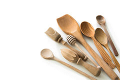 Set of wooden kitchen spoons and other items Stock Image