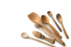Set of wooden kitchen spoons and other items Royalty Free Stock Images