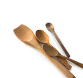 Set of wooden kitchen spoons and other items Stock Photo