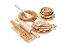 Set of wooden kitchen utensil isolated on white Royalty Free Stock Image