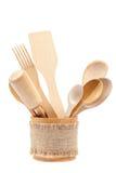 Set of wooden kitchen utensils. Stock Photos