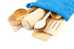 Set of wooden kitchen utensils. Stock Image