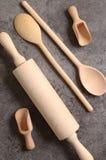 Set of wooden kitchen utensils Royalty Free Stock Photo
