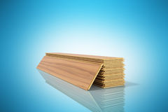 Set of wooden laminated construction planks isolated on blue bac Stock Photo