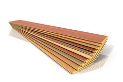 Set of wooden laminated construction planks isolated on white ba Royalty Free Stock Photo