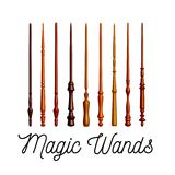Set of wooden magic wands on white background. Vector. Illustration Royalty Free Stock Photography