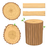Set of wooden materials stock photo