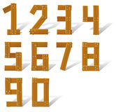 Set wooden numbers stock illustration