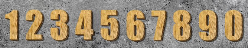 Set of wooden numbers Royalty Free Stock Photo