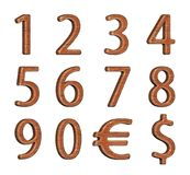 Set of wooden numbers. Numbering. Set of numbers made of wood. 3d rendering. Isolated object Stock Image