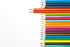 Set of wooden pencils, multiple colours, on white Royalty Free Stock Photos