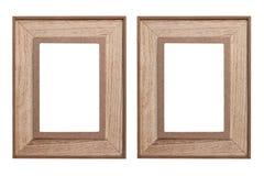 Set of wooden photo frames on white background. Set of wooden photo frames isolated on white background - vintage photo frame wood Stock Image