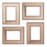 Set of wooden photo frames on white background. Set of wooden photo frames isolated on white background - vintage photo frame wood stock images
