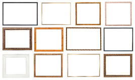 Set wooden picture frame with cut out canvas Stock Photos