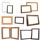 Set of wooden picture frames, isolated on white background Royalty Free Stock Images
