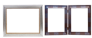 Set of wooden picture frames, isolated on white Stock Images