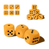 Set of wooden playing dices Royalty Free Stock Photography