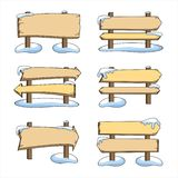 Set of wooden pointers in the snow vector illustration