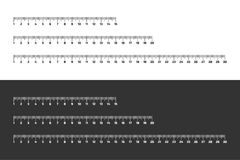 Set of wooden rulers 15, 20 and 30 centimeters with shadows isolated on white. Measuring tool. School supplies. Vector stock illustration royalty free illustration