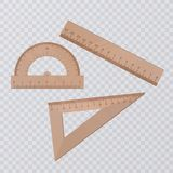 Set of wooden rulers collection. Vector illustration on transparent background stock illustration