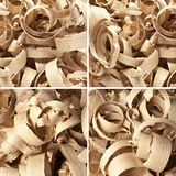 Set of wooden shavings in workshop on planks Stock Images