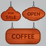 Set of wooden sign on the chains Royalty Free Stock Images