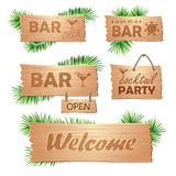 Set of wooden signboards. Summer Stock Image