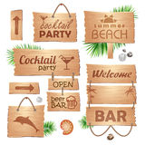 Set of wooden signboards. Summer Royalty Free Stock Photo