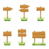 Set of wooden signs Stock Photos