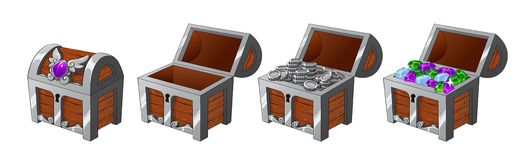 Set of wooden silver chests with coins and diamonds for the game UI. Vector cartoon illustration on white background. Closed, full, empty chest vector illustration