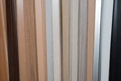 Slats. Set of wooden slats in different colors. Construction, decorative finish inside the house Royalty Free Stock Photography