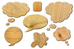 Set of wooden Speech Bubbles. Wooden bubbles for speech on white background. Abstract design. Set of wooden Speech Bubbles Royalty Free Stock Photography