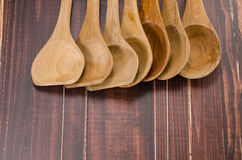 Set of wooden spoon on wooden background Stock Photography